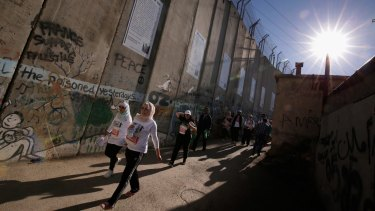 The Israeli-built separation wall near the occupied West Bank city of Bethlehem.