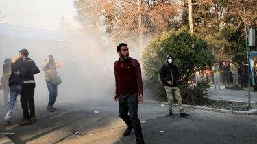 Students protest inside Tehran University on December 30.