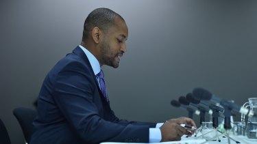 Damon Richardson from Google at the multinational tax avoidance hearing.