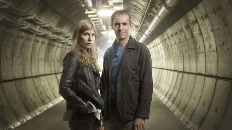 Clemence Poesy (Elise Wassermann) and Stephen Dillane (Karl Roebuck) in <i>The Tunnel.</i>
