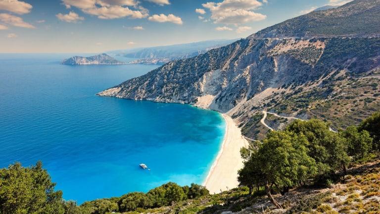 Glorious Myrtos Beach, on Kefalonia's north coast.