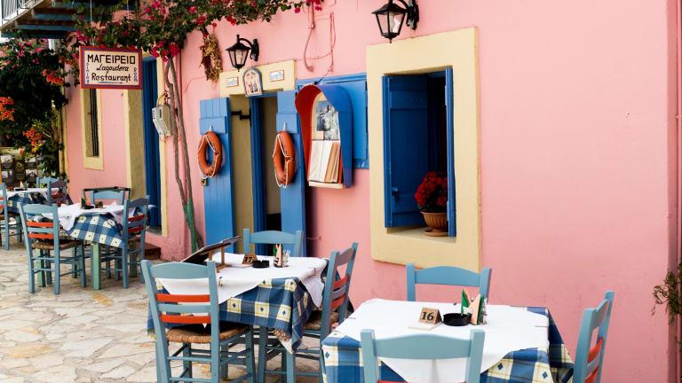 Colourful restaurant scene in Fiskardo.