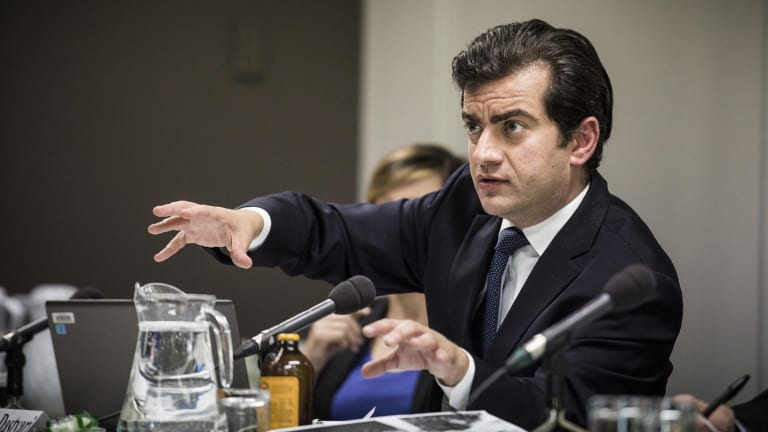 Senator Sam Dastyari at the corporate tax avoidance inquiry on Wednesday.