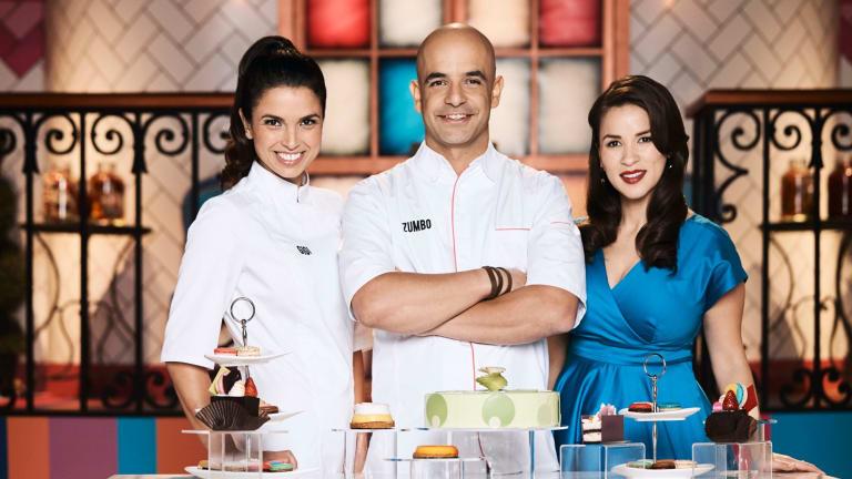 Gigi Falanga, Adriano Zumbo and Rachel Khoo oversee the action on <i>Zumbo's Just Desserts</i>.