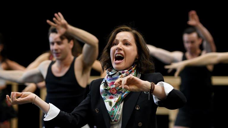 Australian singer Tina Arena performs during a rehearsal for the Australia production of Evita.