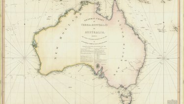 A map produced from Flinders' circumnavigation of Australia.