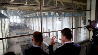 NSW Premier Mike Baird and Planning Minister Rob Stokes at White Bay Power Station.