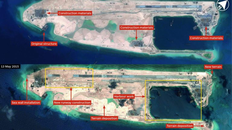 A comparison image supplied by defence publisher IHS Jane's in May 2015 shows the progress of construction on Fiery Cross Reef.