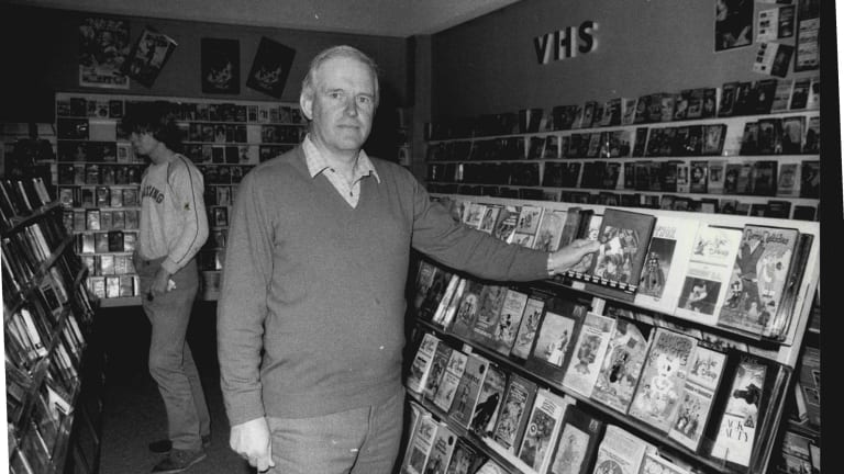 Bob Maidment at his first Videoville store in Dickson in 1984.