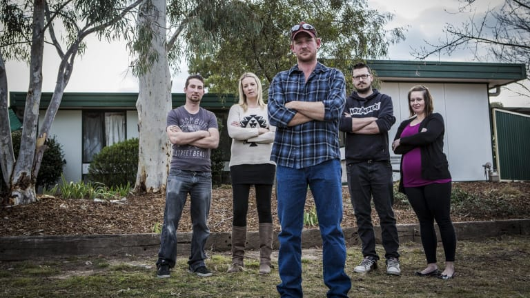Kambah asbestos home owners, from left, Daniel Gray, Liz Maybanks, Jay Kelly, Taylor Keyth, and Christine Uhe.