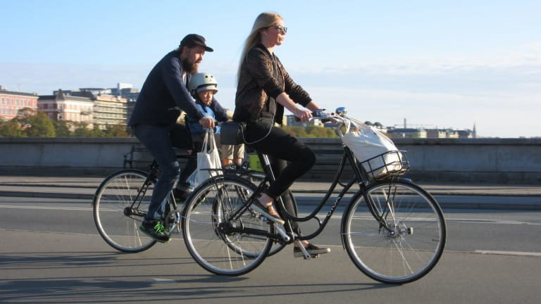 Safe conduit: cycling across Queen Louise's Bridge, Copenhagen.