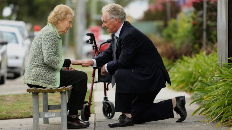 Boyd Fraser and his mother Valerie Fraser at the non-profit Darvall Lodge Nursing Home in Noble Park.