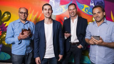 Investors in Unlockd include  Gabby Leibovich, pictured with chief executive Matt Berriman and investors Andrew Walsh and Hezi Leibovich.