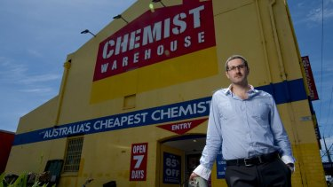 Damien Gance from Chemist Warehouse at their Preston outlet.