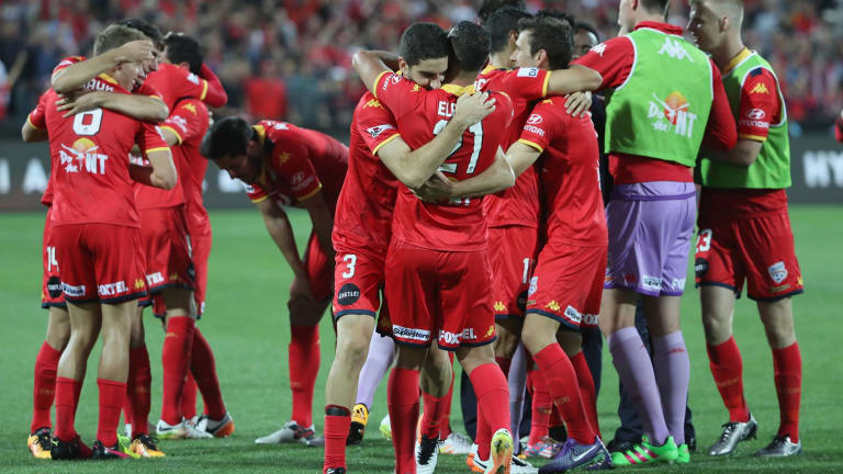 Champions: Adelaide United celebrate after beating the Wanderers 3-1.