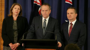 Labor health spokeswoman Catherine King, Opposition Leader Bill Shorten and shadow treasurer Chris Bowen on Tuesday.