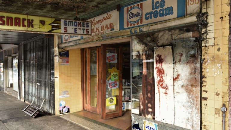 One of the last of Australia's Greek-Australian-run milk bars; the Olympia's dilapidated shopfront speaks of a bygone era.