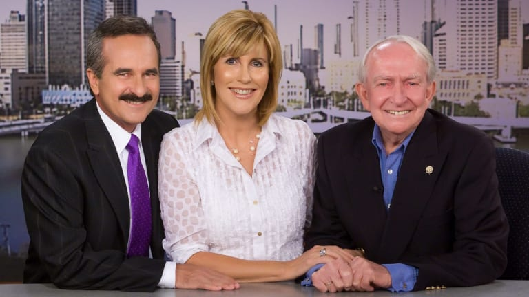 Pioneering Channel 7 newsman Brian Cahill with Rod Young and Kay McGrath in 2009.