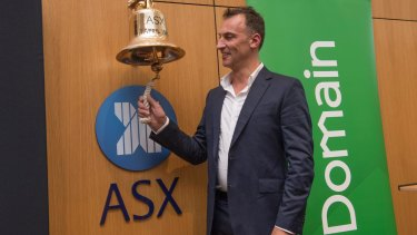 Domain CEO Antony Catalano rang the trading bell. In its first few minutes on the boards, the real estate site's share price was hitting $3.94.