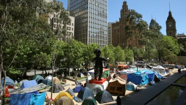 The tent city that emerged on the City Square in 2011 as part of the Occupy Melbourne protests.