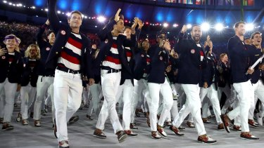 Members of the United States team take part in the Opening Ceremony of the Rio 2016 Olympic Games at Maracana Stadium on August 5, 2016 in Rio de Janeiro, Brazil.