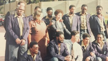Human rights lawyer Andrea Durbach and members of the Upington 25, on the day their murder convictions were quashed in 1991.