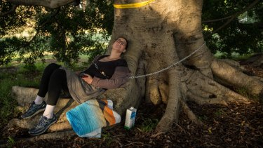 Kathlene Hennessy was prepared to stay chained all night to protect the tree on the edge of Centennial Park.