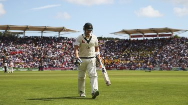 The longest walk: Shane Watson's Test career appears to be in tatters after being dropped for the second Test at Lord's.
