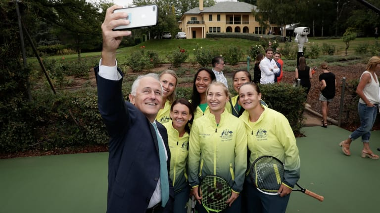 Prime Minister Malcolm Turnbull with the Australian Federation Cup tennis team on Friday.