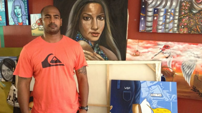 Myuran Sukumaran in the art room at Kerobokan prison in 2012.