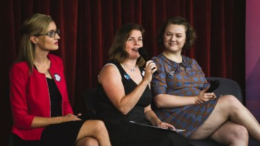 Dr Skye Saunders, left, Jane Alver and Codie Bell at the YWCA's International Women's Day event.