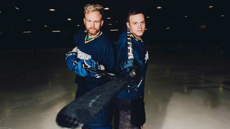 Canberra Brave players Kai Miettinen, Wehebe Darge, and Per Daniel Goransson have been selected for the Australian team to compete at the ice hockey world championships in Holland. From left, Canberra Brave's Per Daniel Goransson and Kai Miettinen. Photo: Jamila Toderas