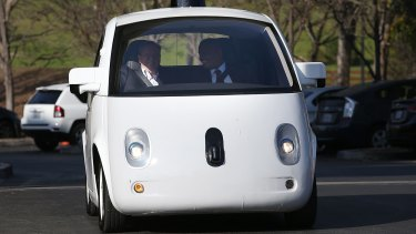 """Look, no hands: Google is expected to partner with Ford to make autonomous vehicles, such as its less than sleek """"Toaster""""."""