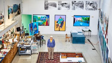 David Hockney in his studio.