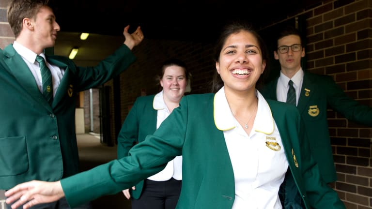 Concord High School students, from left, Max Brenner, Sophie Briede and Zahra Noorgat, completed their first HSC exam in Sydney.