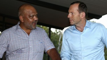 Then-prime minister Tony Abbott meets with Noel Pearson during his visit to North-East Arnhem Land in 2014.