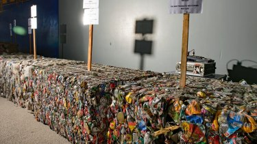 Recycling packaged together at the centre in Hume.