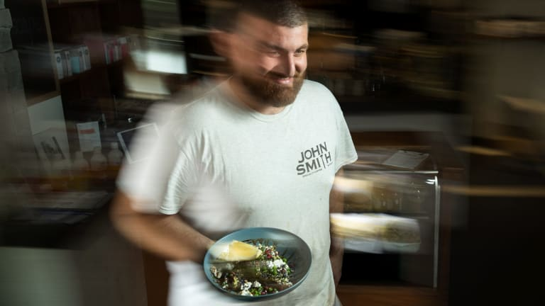 Josh Folden of Waterloo cafe John Smith with his Avocado and Goats Cheese on Sourdough Toast.