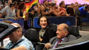 Former NSW Governor Marie Bashir and Sir Nick Shehadie during the Mardi Gras parade, 2015.