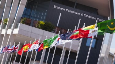 National flags on display during the G20 Leaders' Summit in Brisbane.