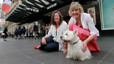 Illustrator Robin Cowcher (L) and author Corinne Fenton with dog Harry are starring in the Myer Christmas windows 60th anniversary celebrations this year.