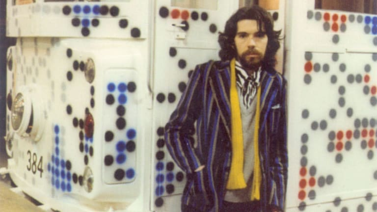 Howard Arkley with his tram in 1980.