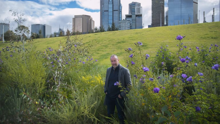 John Rayner in the trial meadow at Birrarung Marr.