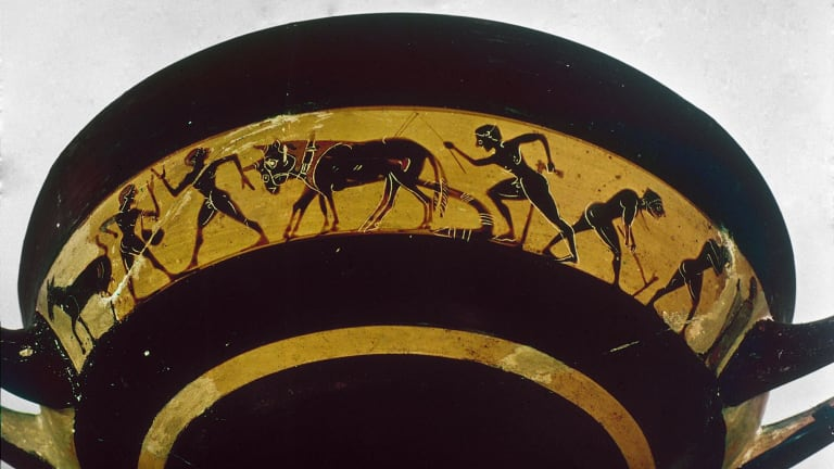 A vase depicting tilling and sowing in 5th century BC Greece.