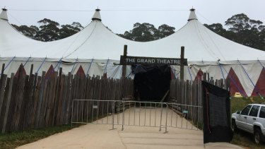 A blocked-off entrance to the Grand Theatre, where the crush happened, on Saturday at Falls Festival in Lorne.