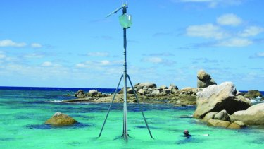 Great Barrier Reef: A communications tower, part of Australia's ocean observing system, IMOS, that may be forced to shut down in June.