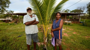 Keith and Lillian Lawford in front of their home on Budgarjuk outstation on the Dampier Peninsula, one of the communities that could be closed.
