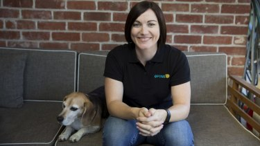 Anna Meares wearing an Optus branded t-shirt.