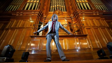 Willoughby on the Town Hall organ at the Melbourne Indigenous Arts Festival in 2014.