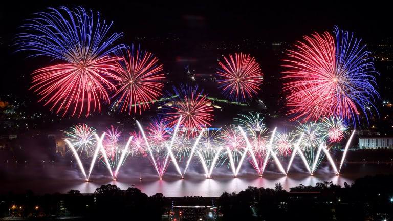Skyfire fireworks display over Lake Burley Griffin in 2014.